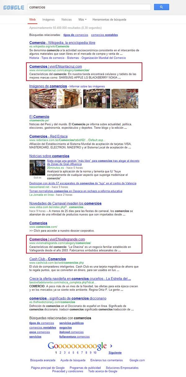 Posición de nuestra empresa en buscadores (Enero 2013), VENBO