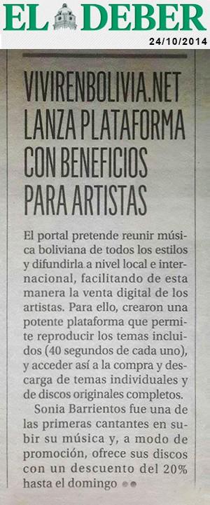 Nota en «El Deber» sobre discografía de Sonia Barrientos en el portal de música, VENBO